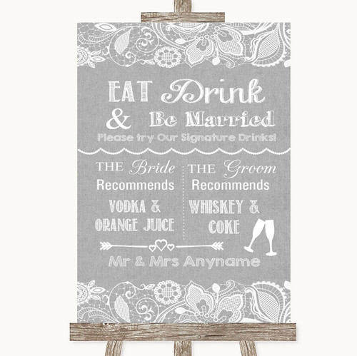 Grey Burlap & Lace Signature Favourite Drinks Personalised Wedding Sign