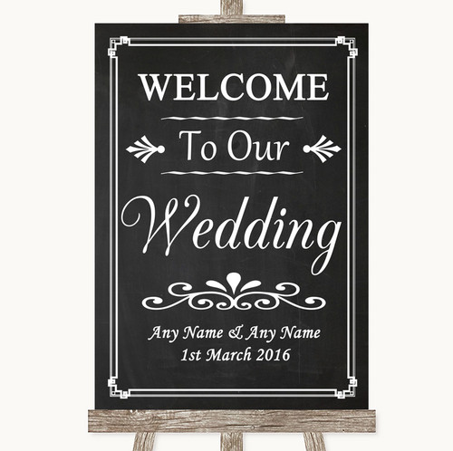 7939b1774 Chalk Style Welcome To Our Wedding Personalised Wedding Sign