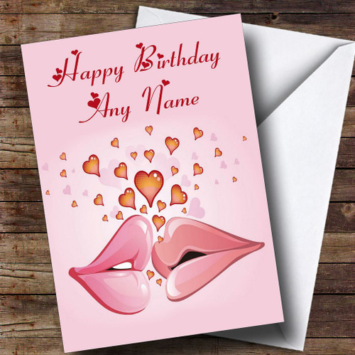 Pink Lips Romantic Personalised Birthday Card