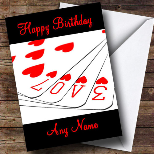 Love Playing Cards Romantic Personalised Birthday Card