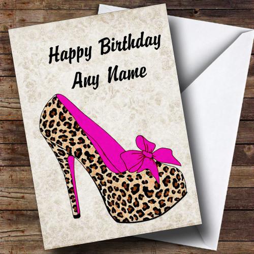 Leopard Print Stiletto Pink Personalised Birthday Card