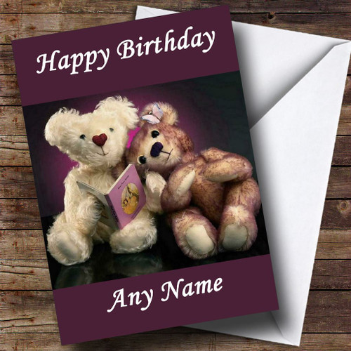 Purple Teddy Bears Personalised Birthday Card