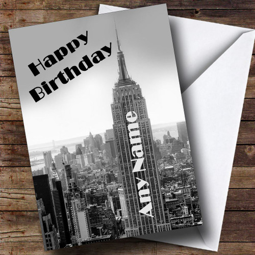 New York Empire State Building Personalised Birthday Card
