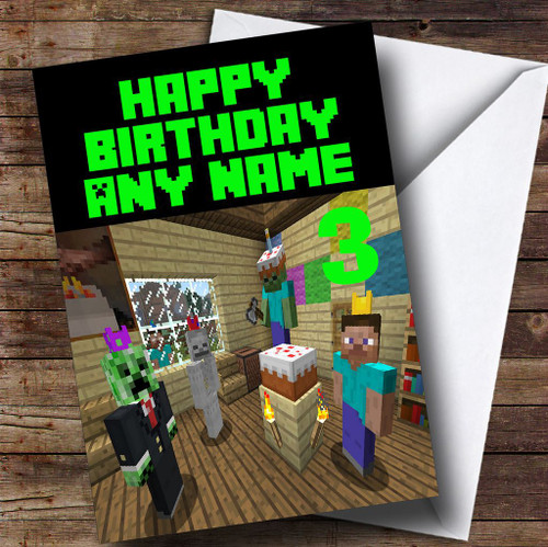 Minecraft Party  Personalised Children's Birthday Card