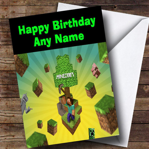 picture regarding Minecraft Birthday Card Printable named Minecraft Individualized Birthday Card - The Card Zoo