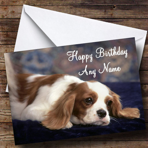 King Charles Spaniel Dog Personalised Birthday Card