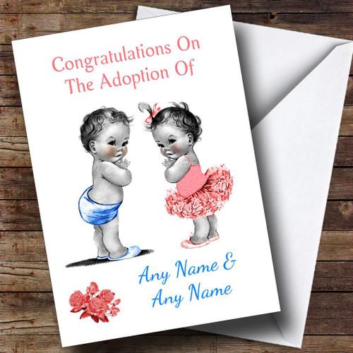 Cute Adoption Adopting Twin Boy & Girl Son & Daughter Personalised Card