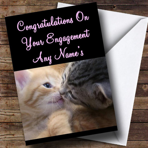 Cats Kissing Personalised Engagement Card