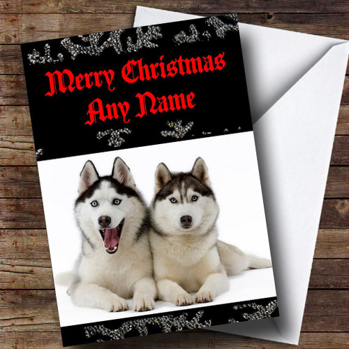 Husky Christmas Cards.Husky From Or To The Dog Pet Personalised Christmas Card