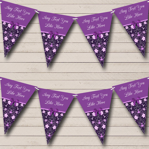Purple And Lilac Floral Personalised Engagement Party Bunting