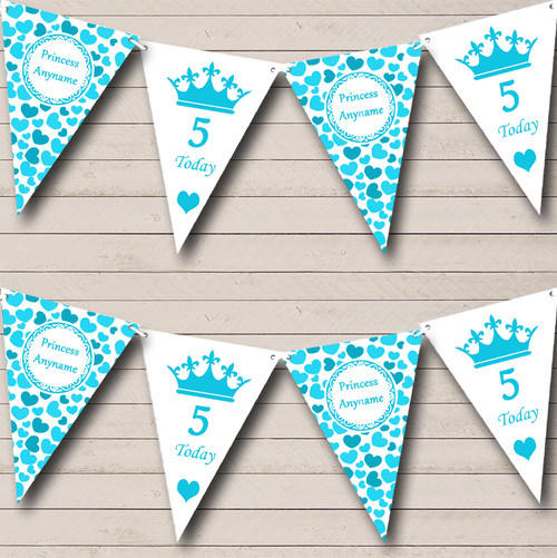 Aqua Blue Love Hearts Princess Personalised Children/'s Birthday Party Bunting