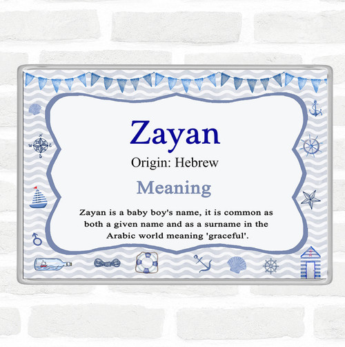 Zayan Name Meaning Jumbo Fridge Magnet Nautical