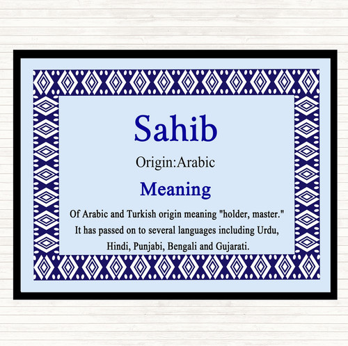Sahib Name Meaning Mouse Mat Pad Nautical - The Card Zoo
