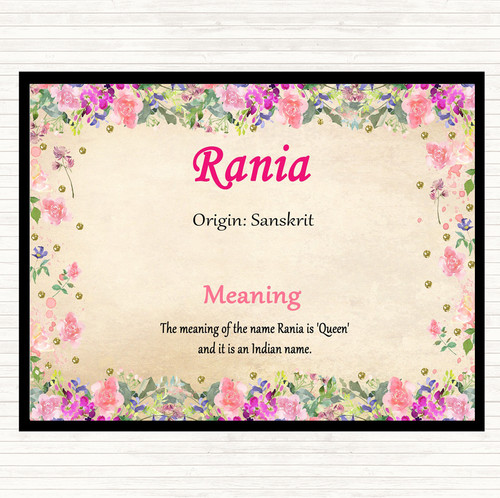Rania Name Meaning Floral Certificate - The Card Zoo