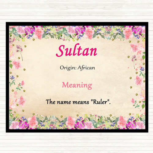 Sultan Name Meaning Floral Certificate - The Card Zoo