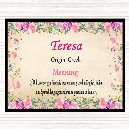 Teresa Name Meaning Mouse Mat Pad Pink - The Card Zoo