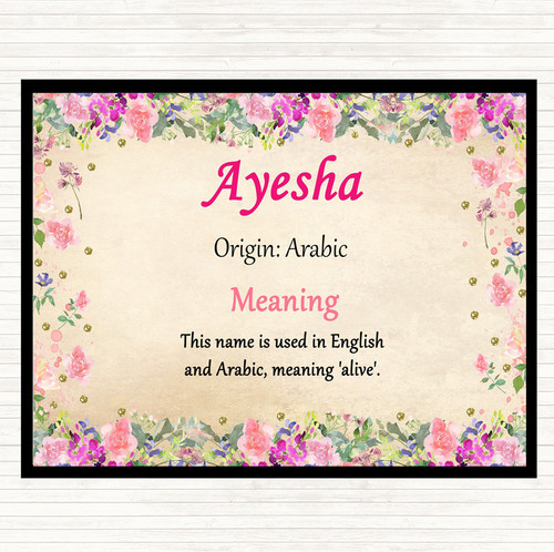 Ayesha Name Meaning Floral Certificate - The Card Zoo