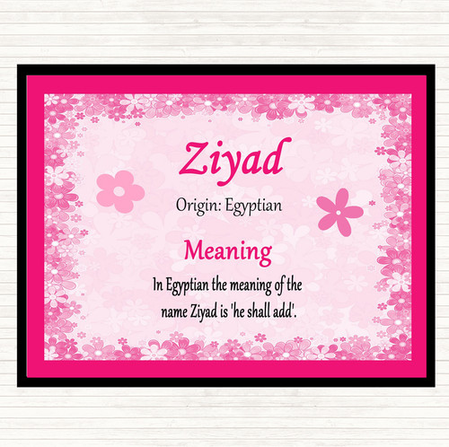 Ziyad Name Meaning Pink Certificate - The Card Zoo