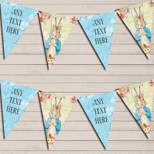 Shabby Chic Vintage Peter Rabbit Blue Personalised Christening Bunting