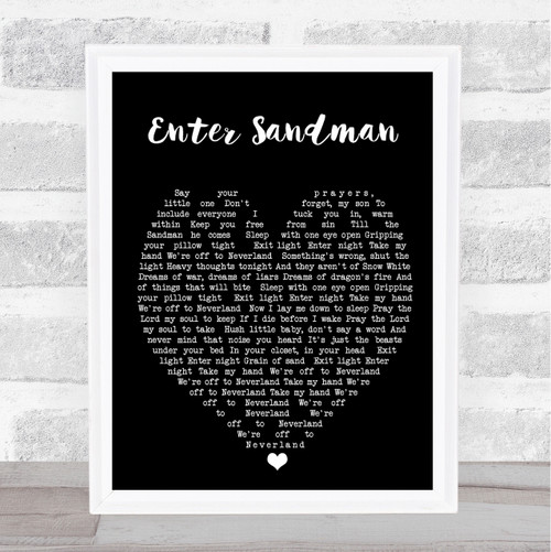 Nothing Else Matters Metallica Black Heart Song Lyric Quote Print