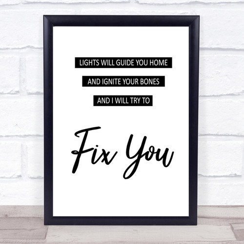 Coldplay Fix You Song Lyric Vintage Quote Print - The Card Zoo