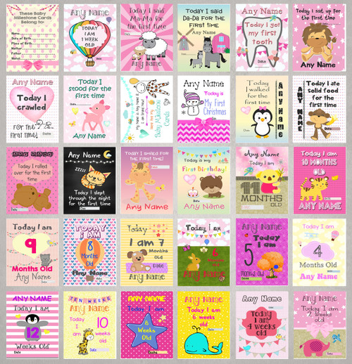 personalised girls baby milestone cards