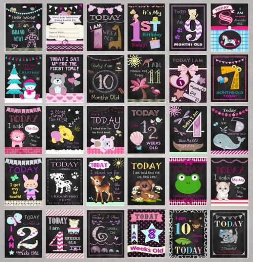 Chalk Style Girls Baby Milestone Cards