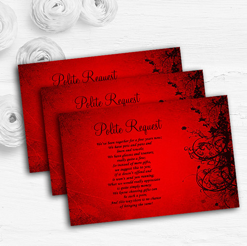 Red Flare Personalised Wedding Gift Cash Request Money Poem Cards