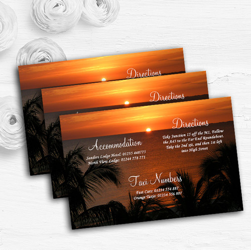 Florida Sunset Personalised Wedding Guest Information Cards