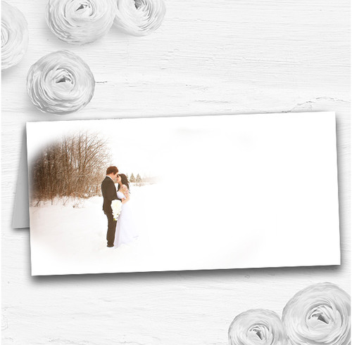White Winter Wedding Table Seating Name Place Cards
