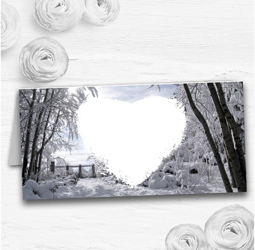 Winter Snow Scene Wedding Table Seating Name Place Cards