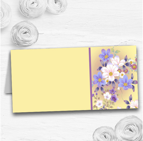 Yellow Lilac Floral Vintage Wedding Table Seating Name Place Cards