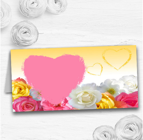 Yellow Pink Flowers Wedding Table Seating Name Place Cards