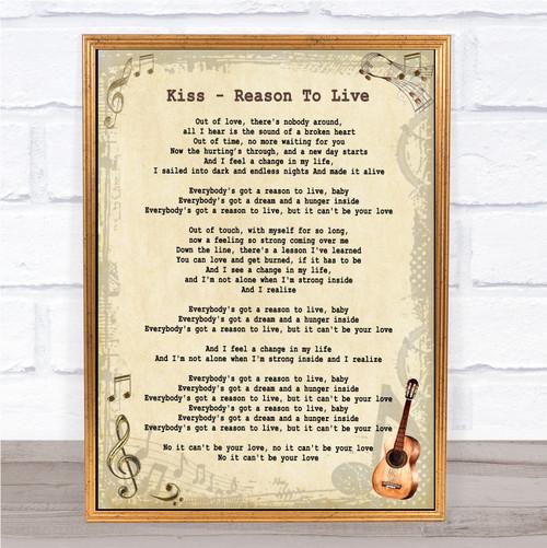 Wall Art & Posters - Song Lyric Prints - Vintage Guitar