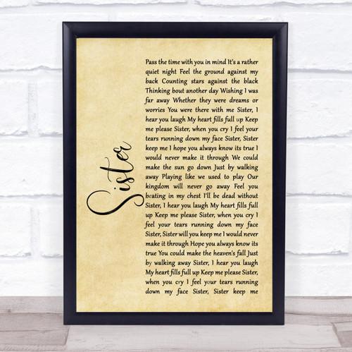Dave Matthews Sister Rustic Script Song Lyric Print