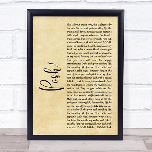 Lionel Jeffries Posh! Rustic Script Song Lyric Print