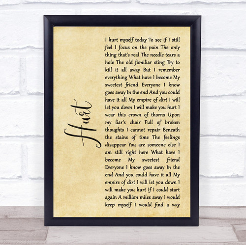 Johnny Cash Hurt Rustic Script Song Lyric Print