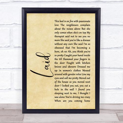 James Laid Rustic Script Song Lyric Print