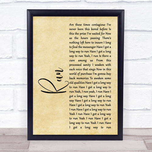 Ed Roland Collective Soul Run Rustic Script Song Lyric Print