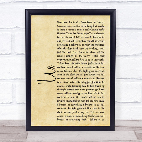 James Bay Us Rustic Script Song Lyric Print