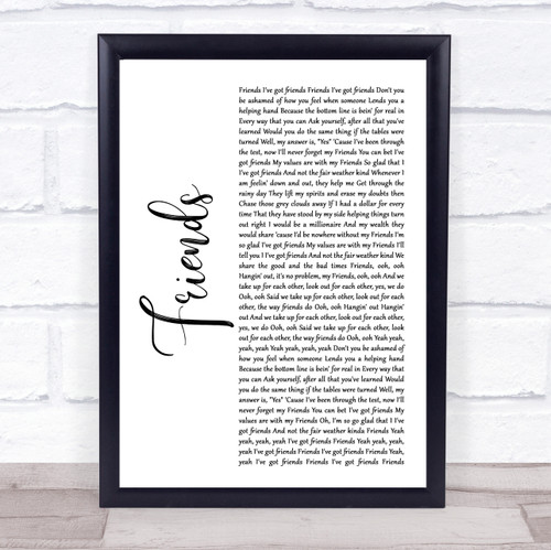 Shalamar Friends White Script Song Lyric Print
