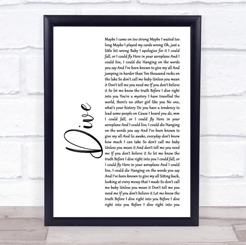 Ed Sheeran Dive White Script Song Lyric Print