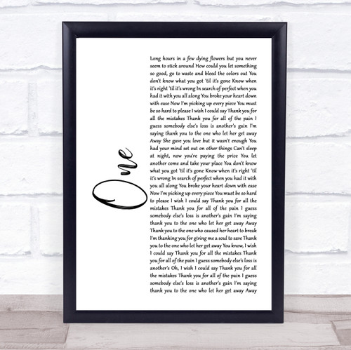 Lewis Capaldi One White Script Song Lyric Print