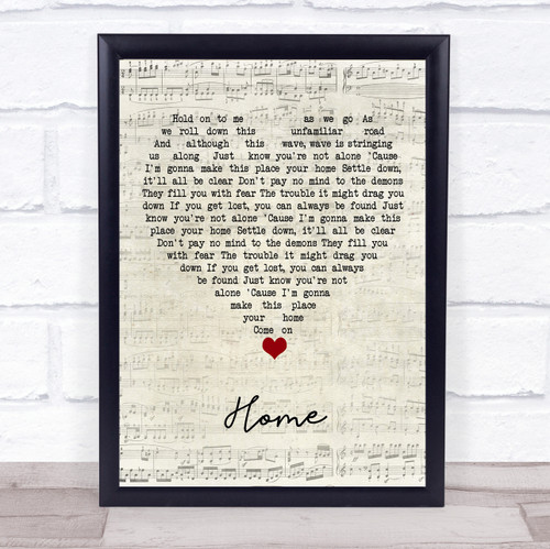 Phillip Phillips Home Script Heart Song Lyric Quote Music Print