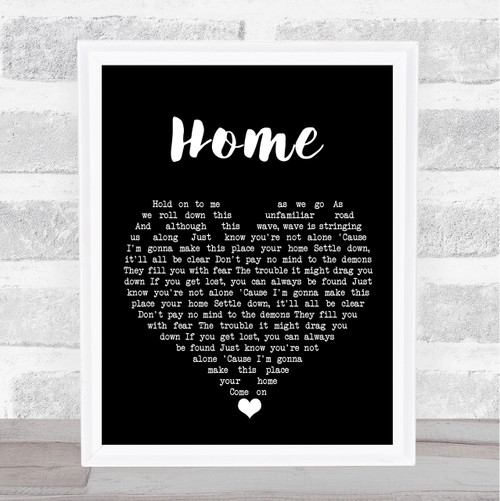 Phillip Phillips Home Black Heart Song Lyric Quote Music Print