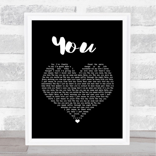Jess Powell YOU Black Heart Song Lyric Quote Music Print