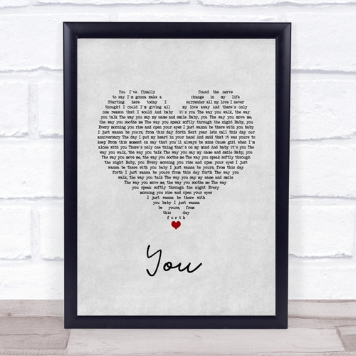 Jess Powell YOU Grey Heart Song Lyric Quote Music Print