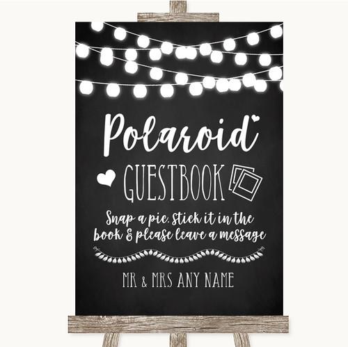 66388e73ebfa Chalk Style Black   White Lights Polaroid Guestbook Personalised Wedding  Sign