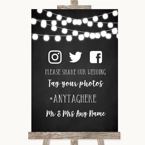 4f9e81e9b Chalk Style Black   White Lights Social Media Hashtag Photos Wedding Sign