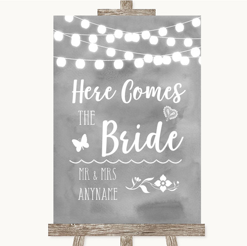 Grey Watercolour Lights Heaven Loved Ones Personalised Wedding Sign